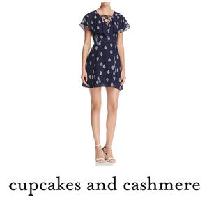 Cupcakes and Cashmere Blue Paisley Lace Up Dress 6